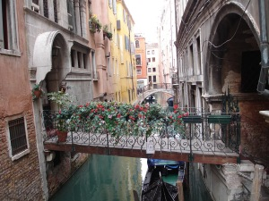 Flowery Bridge in Venice Italy