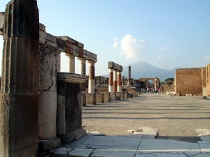 Forum in Pompeii with Vesuvius in distance