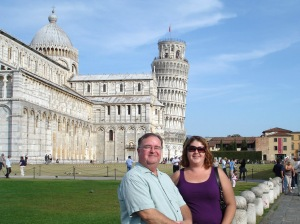 Me and Dad in front of Leaning Tower of Pisa