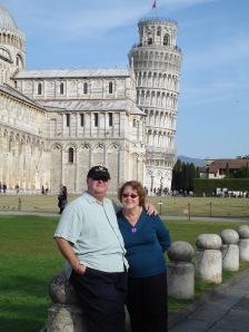 Mom and Dad in front of Leaning Tower of Pisa