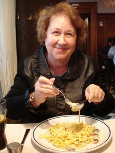 Mom enjoying authentic Italian food