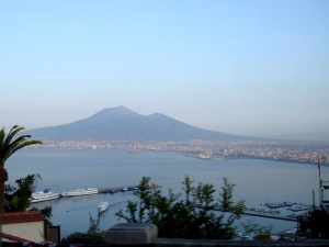 Mount Vesuvius behind Gulf of Naples