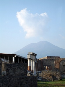 Pompeii with Vesuvius in distance with weird cloud