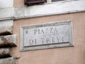 Sign for Trevi Fountain Rome Italy